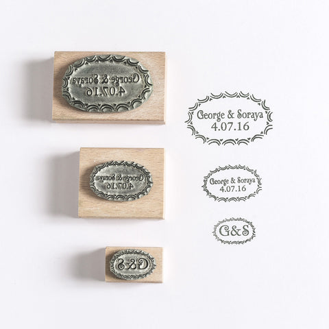 Scalloped and heart Oval Custom Wedding/Save the Date Rubber Stamp