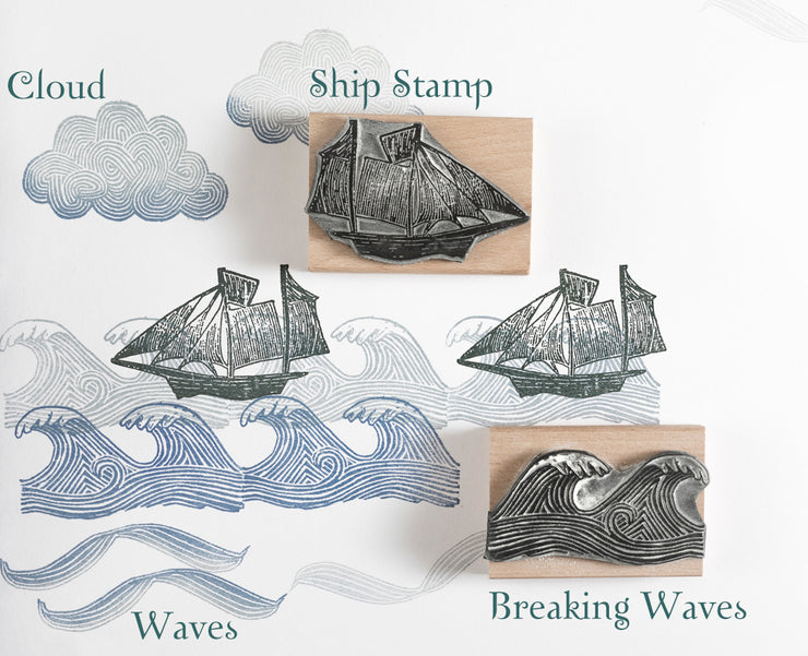 Sailing Ship, Waves and Cloud Rubber Stamps