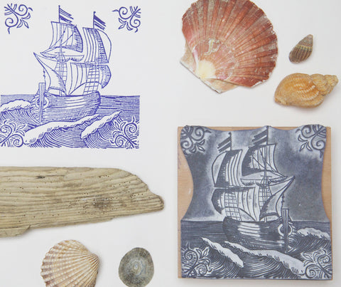 Sailing Ship Rubber Stamp