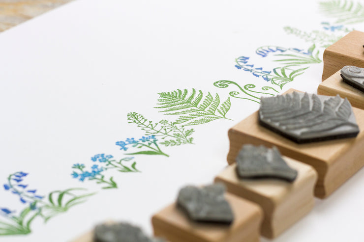 Botanical Rubber Stamps, Wild Flower Rubber Stamp, Fern Rubber Stamp, Bluebells Rubber Stamp, Forget Me Not Rubber Stamp.