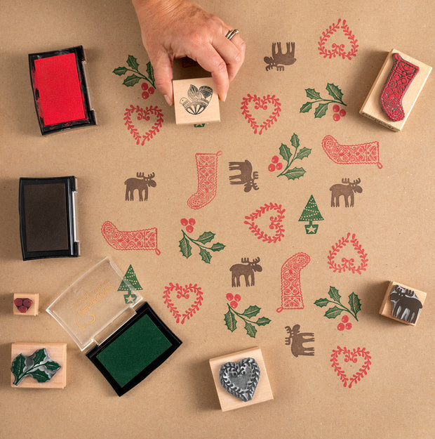 Small Christmas Rubber Stamps, Moose Stamp, Simple Tree Stamp, Holly and Berries Stamp and Heart Stamp