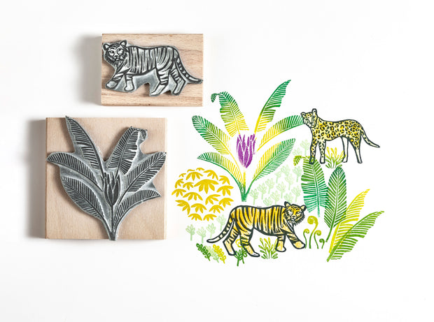 Tiger and Leopard Rubber Stamps with Jungle Leaves