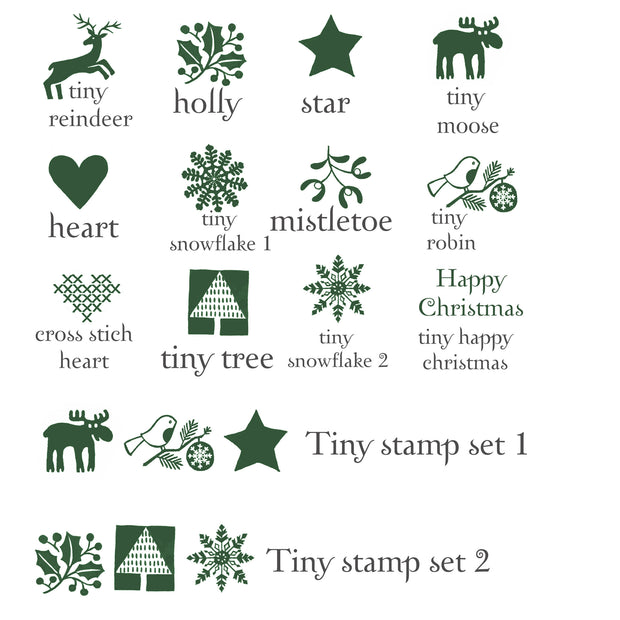 Tiny Christmas Rubber Stamps