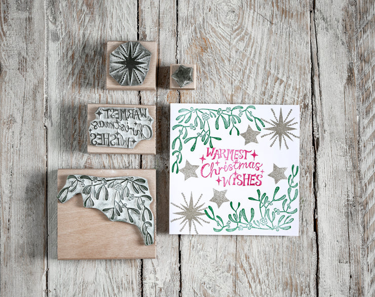 Christmas Wishes and Mistletoe Rubber Stamp, Christmas Rubber Stamp Mistletoe