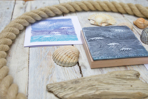 Seascape Rubber Stamp
