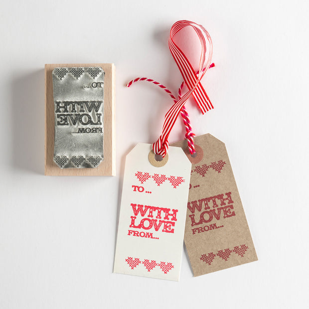 With Love Gift Tag Rubber Stamp