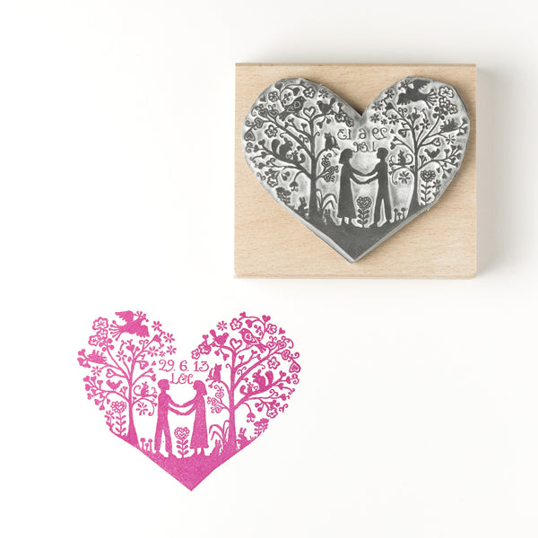 Wedding Invitation Rubber Stamps: Personalised You And Me Heart Save The Date Stamp Or