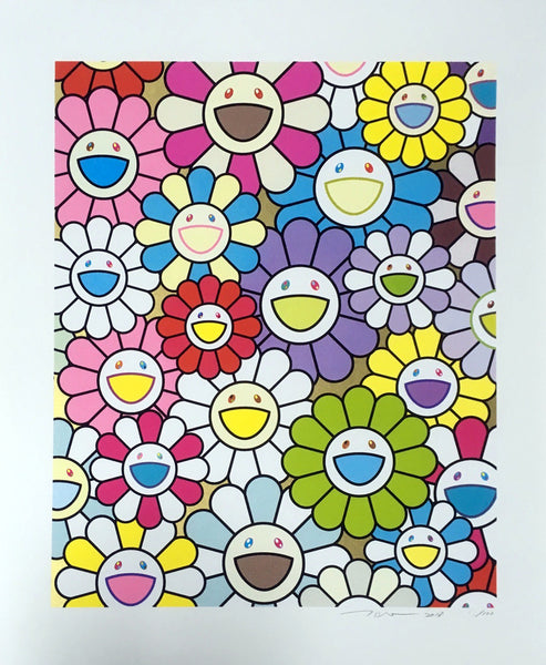 Takashi Murakami, A Little Flower Painting: Yellow, White, and Purple Flowers, 2018 - Lougher Contemporary