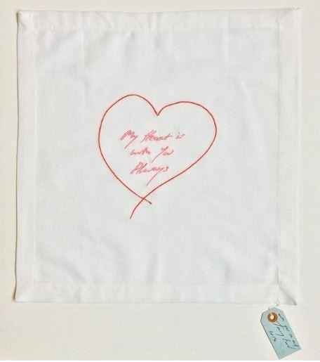 Tracey Emin, My Heart Is With You Always (Red/ Pink) - Napkin, 2015 - Lougher Contemporary