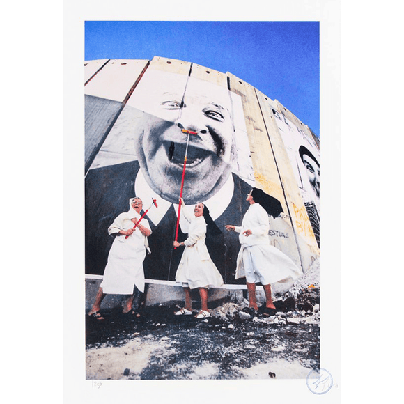 JR, 28 MILLIMÈTRES, FACE 2 FACE, NUNS IN ACTION, SEPARATION WALL, SECURITY FENCE, PALESTINIAN SIDE, BETHLEHEM, 2007 - lougher-contemporary