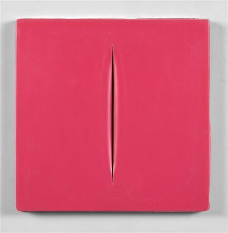 Lucio Fontana,  Concetto Spaziale (Pink), 1968 - Lougher Contemporary