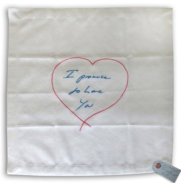 Tracey Emin, I Promise To Love You (Blue/ Pink) - Napkin, 2014 - Lougher Contemporary
