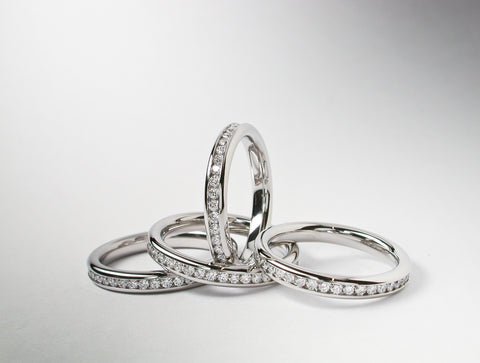Diamond Full hoop wedding rings