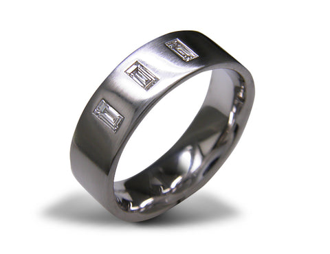 Man's diamond set wedding ring