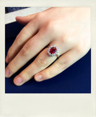 Ruby and diamond cluster cocktail ring
