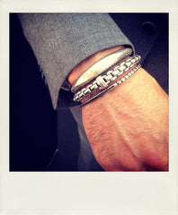 Men's bracelets, steel, silver and gold
