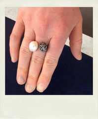 Fei Liu Whispering diamond and pearl ring