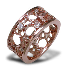 London Road Diamond and rose gold bubble ring
