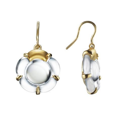 B Flower Earrings, Clear