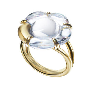 B Flower Ring, Clear