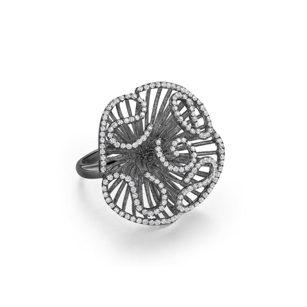 Cascade Ring in Black Rhodium Vermeil, Medium
