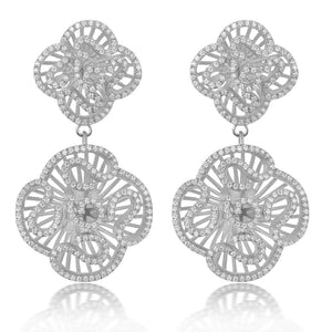 Cascade Double Drop Earrings in Silver