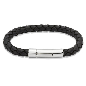 Black Leather & Steel Bracelet