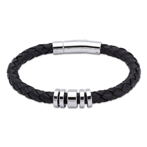 Black Leather Bracelet with Steel Beads