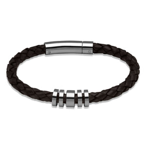 Brown Leather Bracelet with Steel Beads