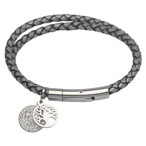 Silver Wrap Leather Bracelet with Tree of Life Charm