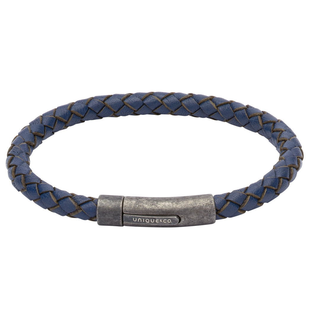 Blue Leather & Gunmetal Steel Bracelet