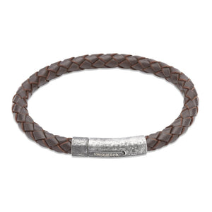 Brown Leather & Gunmetal Steel Bracelet