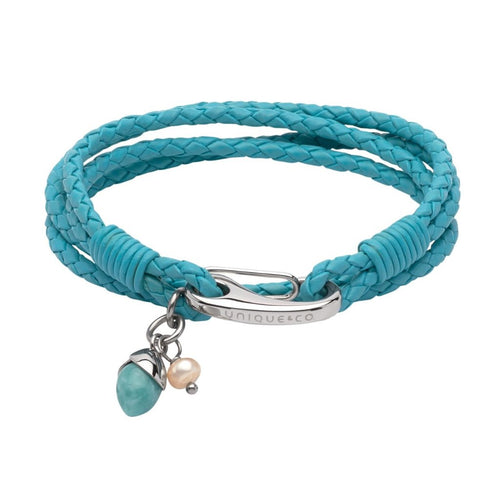 Turquoise Leather and Steel Bracelet with an Amazonite and Pearl Charm