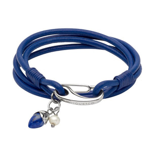 Blue Leather and Steel Bracelet with a Lapis Lazuli and Pearl Charm