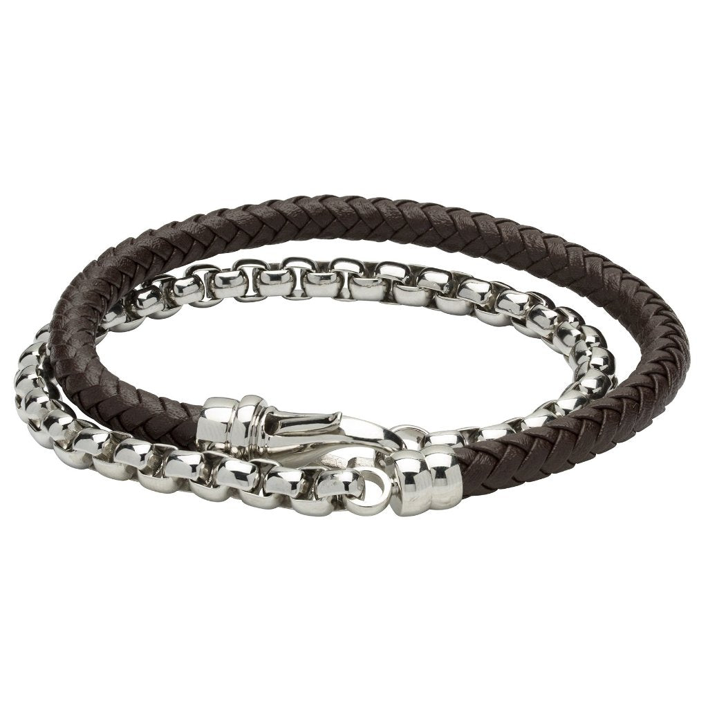Double Chain and Brown Leather Bracelet