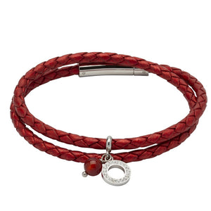 Moroccan Red Leather and Steel Bracelet with a Red Agate and Cubic Zirconia Charm