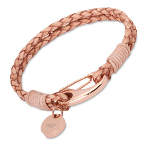 Natural tan leather with rose gold vermeil catch and charm.