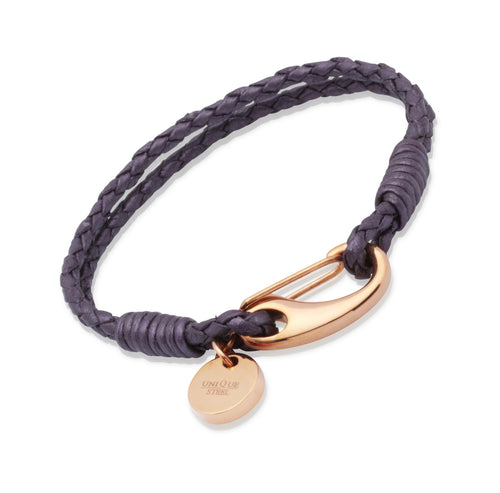 Purple leather and rose vermeil bracelet