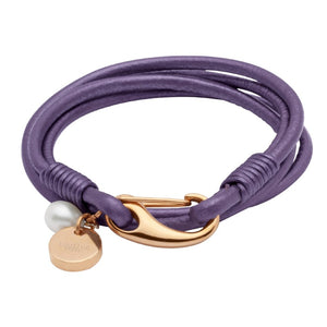 Double Wrap Berry Leather Bracelet with Rose Vermeil Catch & Pearl Charm