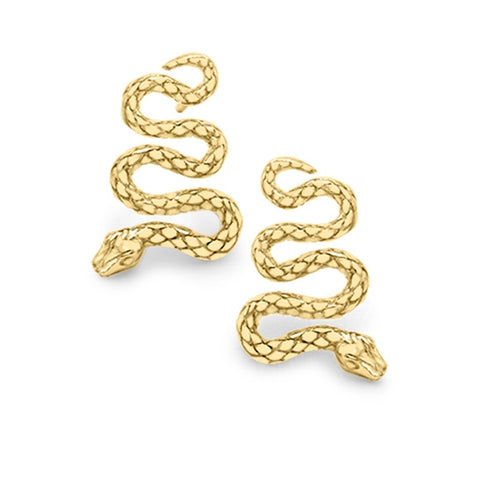9ct yellow gold serpent snake earrings
