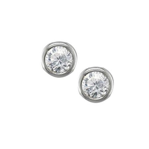 9ct white gold single diamond stud earrings