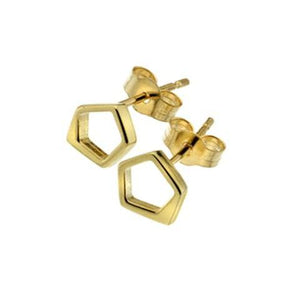 Pentagon Yellow Gold Stud Earrings