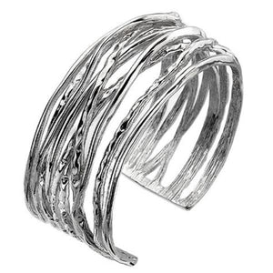 Silver Ribbon Torc Bangle