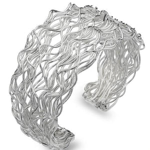 Silver Wave Torc Bangle