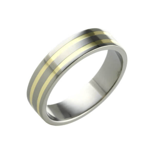 Titanium and Gold Banded Ring