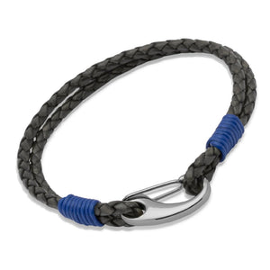 Double Grey Leather & Blue Steel Bracelet