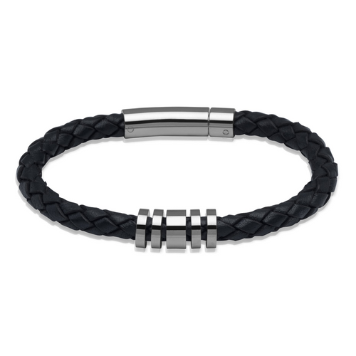 Navy Blue Leather Bracelet with Steel Beads