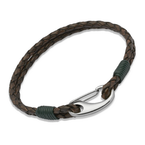 Double Brown Leather & Green Steel Bracelet