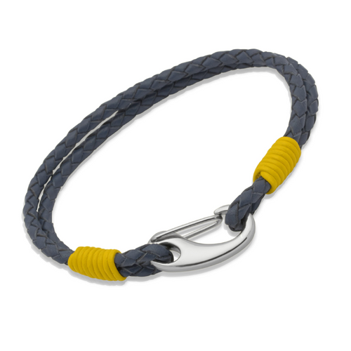 Double Blue Leather & Yellow Steel Bracelet