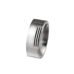 Steel Ring with Triple Line Detail